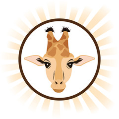 giraffe cartoon animal picture icon. Circle and colorful design. Vector illustration