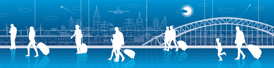 People with luggage rushing to the train, the scene at the railway station. City infrastructure panorama on background, vector design art