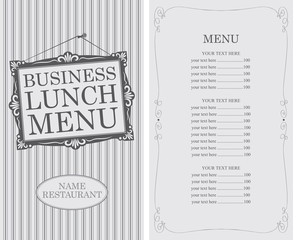 business lunch menu with frame of the picture and price in retro style