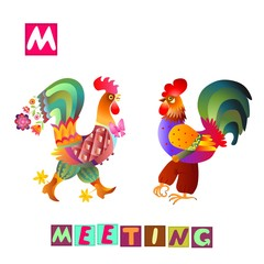 Year of the rooster. Cute cartoon english alphabet with colorful image and word. Kids vector ABC. Letter M. Meeting.