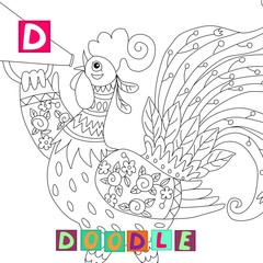 Year of the rooster. Cute cartoon english alphabet with colorful image and word. Kids vector ABC. Letter D. Doodle.