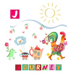 Year of the rooster. Cute cartoon english alphabet with colorful image and word. Kids vector ABC. Letter J. Journey.