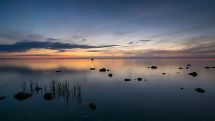 Fond de hotte en verre imprimé Prune Sonnenuntergang an der Steilküste auf Ostsee Insel Poel, Mecklenburg-Vorpommern