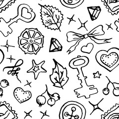 Monochrome black and white doodle sketch seamless pattern vector