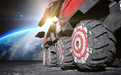 Moon rover on the moon. space expedition. moon surface. 3d rendering