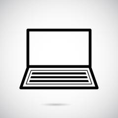 Laptop icon on gray background. Vector art.