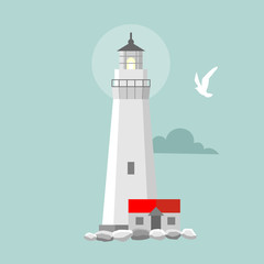 Vector flat lighthouse. Cartoon landscape. Searchlight towers for maritime navigational guidance