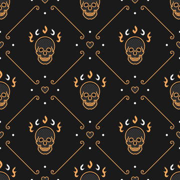 Skull seamless pattern Art Deco. Elegant gold skull, heart and delicate lines on a dark background in the style of a thin line art. Vector illustration
