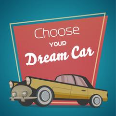 Retro car, Cartoon character, Vector Illustration