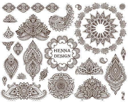 Big vector set of henna floral elements and frames