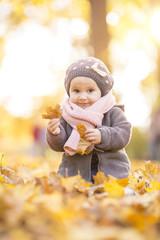 Süßes Mädchen in den Blättern