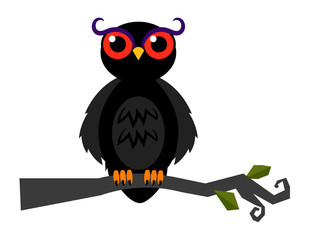 Halloween spooky vector owl on dark forest branch isolated on white background