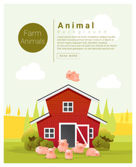 Rural landscape and farm animal background with pig , vector , illustration