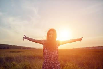 Beautyful teenage model girl outdoors enjoying nature