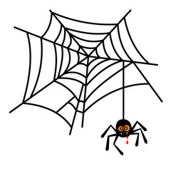 Halloween cute spider on web vector isolated on white background