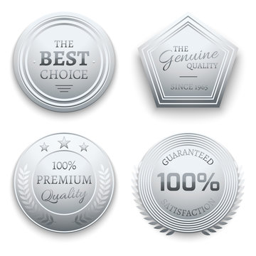 Polished silver metal premium vector sticker, tag, label, badge