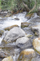 Nature background. Cloudy day. River with strong flow, through rocks, forming little waterfalls