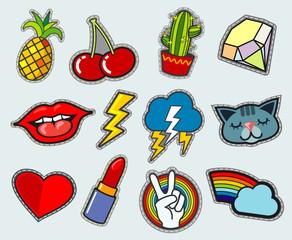 Cartoon patch badges vector stock