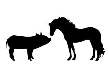 Vector silhouette of farm animal.
