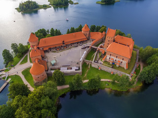 Trakai, Lithuania: aerial top view, flat lay of Island Castle