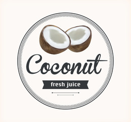 coconut juice. Detailed Vector label.