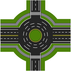 Road infographics. Road interchange, roundabouts. It is showing the movement of cars. Sidewalks and crossings. illustration