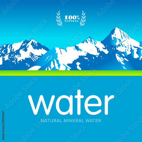 mineral water label template - vector mineral bottled spring water logo design label