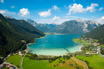 Achensee, bird view / Aerial view from Achensee in Tyrol (Austria) Wall mural