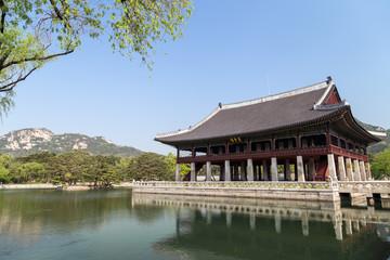 Gyeonghoeru Pavilion (Royal Banquet Hall) at the Gyeongbokgung Palace, the main royal palace of the Joseon dynasty, in Seoul, South Korea.