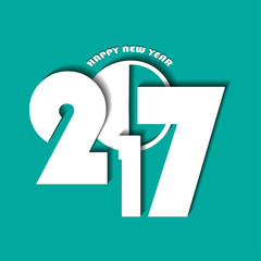 New Year 2017 concept on turquoise background. Vector illustration