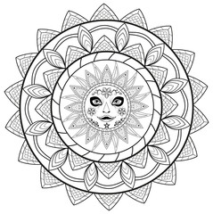Black and white mandala vector for coloring book, mandala in bianco e nero vettoriale da colorare per adulti