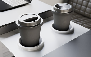 Two Black Plastic Coffee Cups Table Inside Interior First Class Cabin Fast Speed Train.Empty Blank Generic Design Hot Drinks Take Away Mugs Background.Clear Business Mockup.Crops.3d rendering.