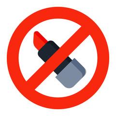 No lipstick sign vector illustration.