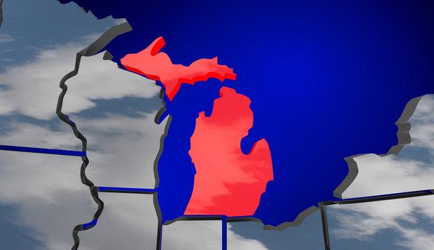 Michigan MI Map Clouds USA United States America Weather Forecas