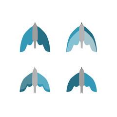 Flying birds set. Isolated. On white background. Vector flat illustration