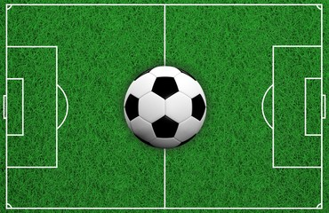 Soccer ball on soccer field. 3d illustration