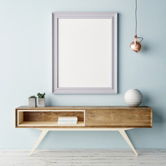Mock up poster, pastel color interior, 3d illustration