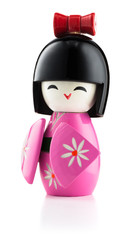 Japanese kokeshi doll isolated on white