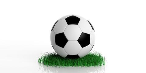 Soccer ball and grass. 3d illustration