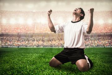soccer football player celebrating goal scoring in the stadium