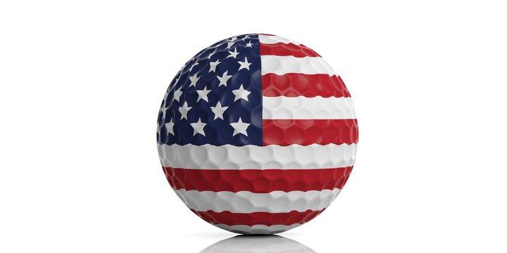 USA flag golf ball. 3d illustration