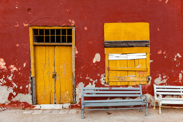 Ochre building and yellow door