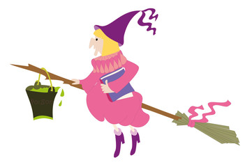 Old witch with full tin bucket of poison on the broom