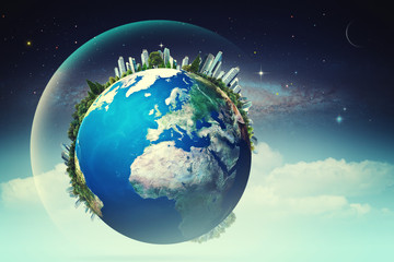 Planet in the skies, eco backgrounds with funny Earth against st