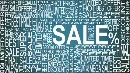 Sale words. Sales promotional. Store Sale concept.