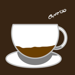 Hot coffee espresso drink with milk illustration