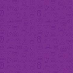 ハロウィン パターン 壁紙 背景 線画イラスト 紫