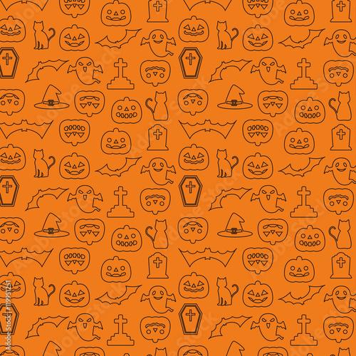 ハロウィン パターン 壁紙 背景 線画イラスト オレンジ 黒 Stock Image