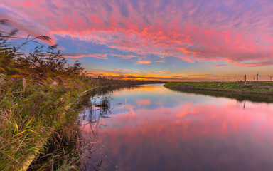 Wall Mural - Pink and orange river sunset
