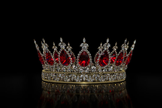 Diamond & Ruby Crown A jewel encrusted crown, isolated on black. The crown features many marquise diamonds and features large, oval rubies.